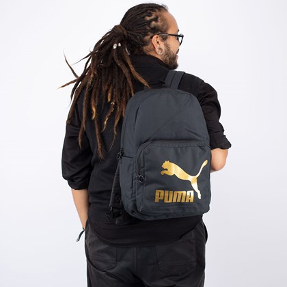 Mochila Puma Originals Backpack Black Gold 077353-01