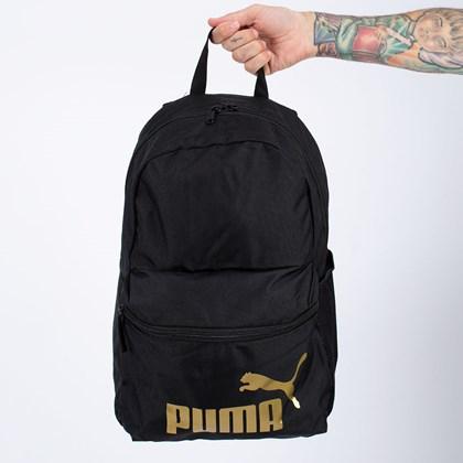 Mochila Puma Phase Backpack Black Gold 075487-49