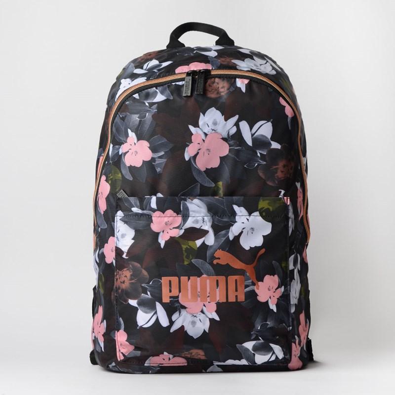 Mochila Puma WMN Core Seasonal Backpack Preto Floral 07657303