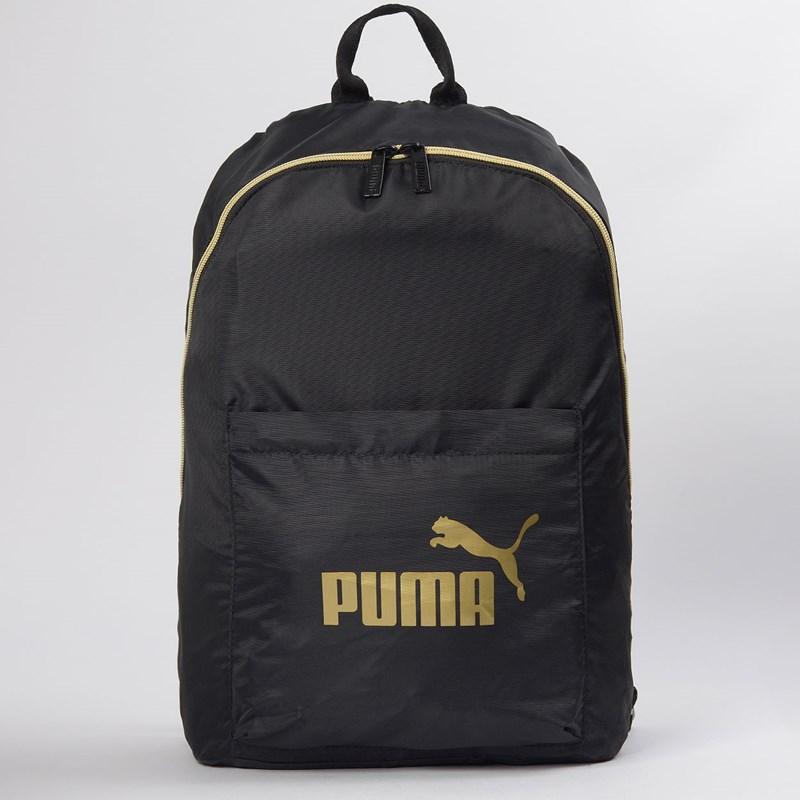 Mochila Puma WMN Core Seasonal Backpack Preto Ouro 07657301