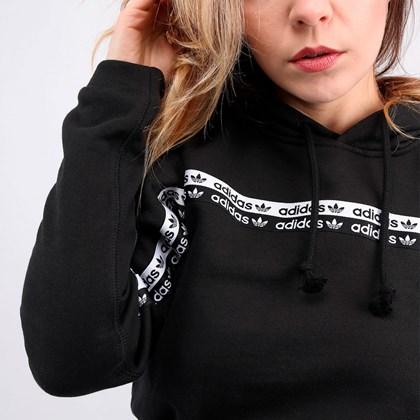 Moletom Adidas Cropped Feminino Capuz Hoodie Black FM2513