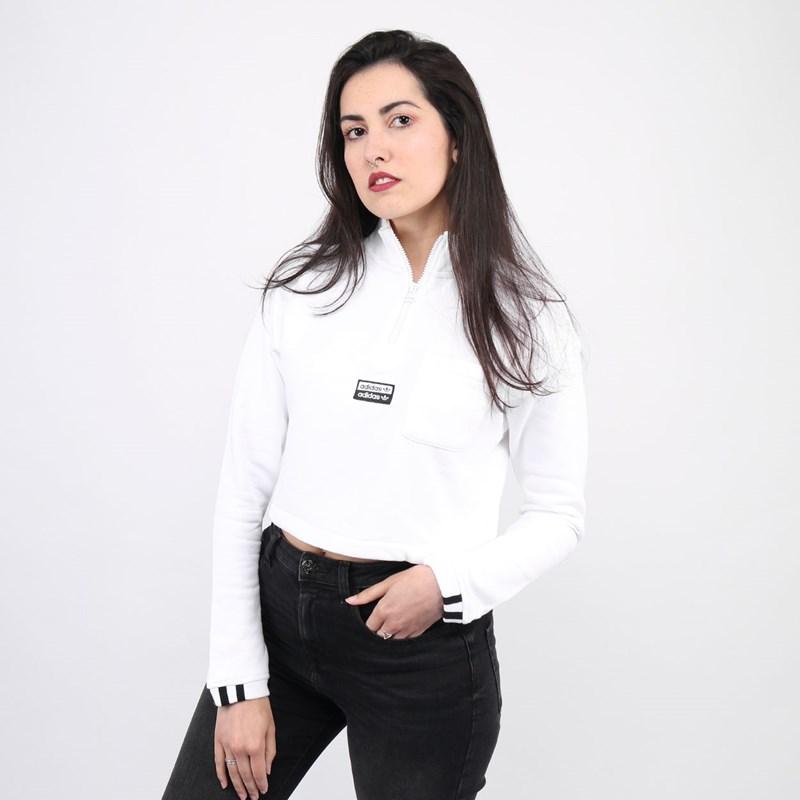 Moletom Adidas Cropped Feminino Sweat White FM2505