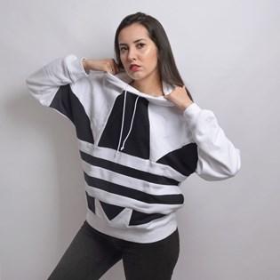Moletom Adidas Feminino LRG Logo Hoodie White Black FS1306