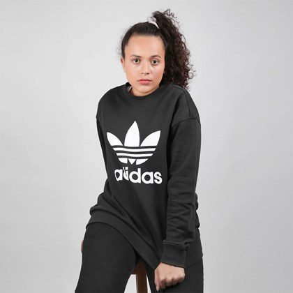 Moletom Adidas Feminino TRF Crew Sweat Black White FM3272
