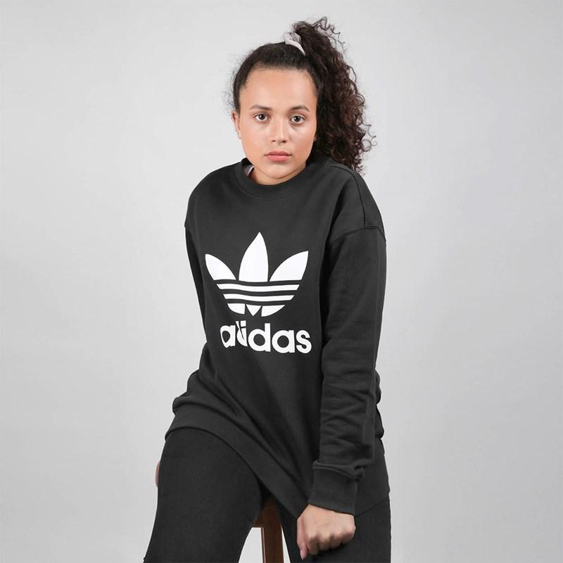 Moletom Adidas Feminino TRF Crew Sweat Black White FM3272
