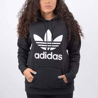 Moletom Adidas Feminino TRF Hoodie Capuz Black White FM3307
