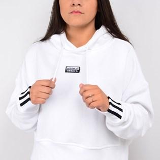 Moletom Adidas Feminino Vocal Cropped Hoodie Capuz Branco EJ8536
