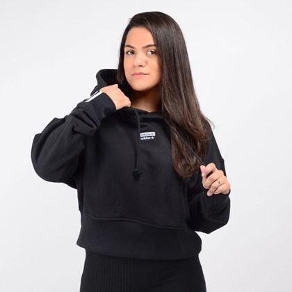 Moletom Adidas Feminino Vocal Cropped Hoodie Capuz Preto EJ8537