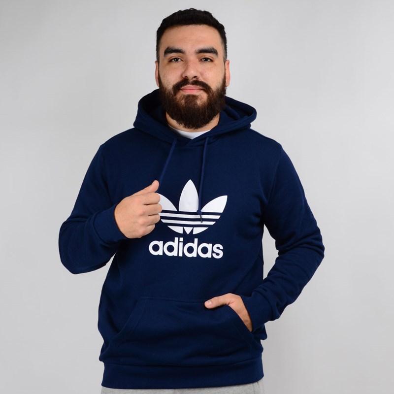 Moletom Adidas Masculino Trefoil Hoodie Capuz Marinho Branco EJ9682