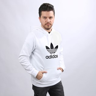 Moletom Adidas Masculino Trefoil Hoodie Capuz White DU7780