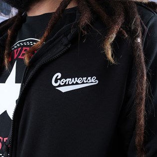 Moletom Converse Capuz Nova FZ Hoodie FT Black 10018229-A03