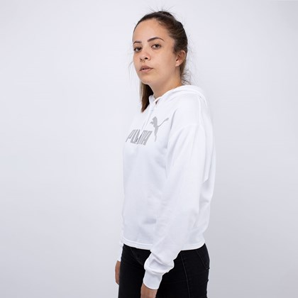 Moletom Puma Cropped ESS+ Metallic Hoody TR White 58241152