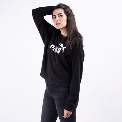 Moletom Puma Feminino Capuz Essentials+ Cropped Hoody Black 85468501