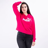 Moletom Puma Feminino Capuz Essentials+ Cropped Hoody Bright Rose 85468515