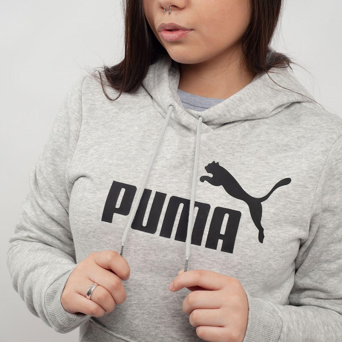 Moletom Puma Feminino Capuz Essentials Fleece Hoody Cinza 85179704