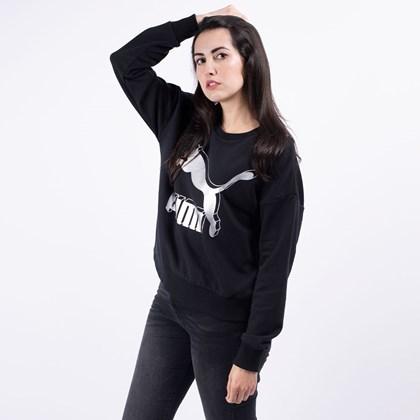 Moletom Puma Feminino Gola Careca Classics Logo Metallic Crew Black 59704971