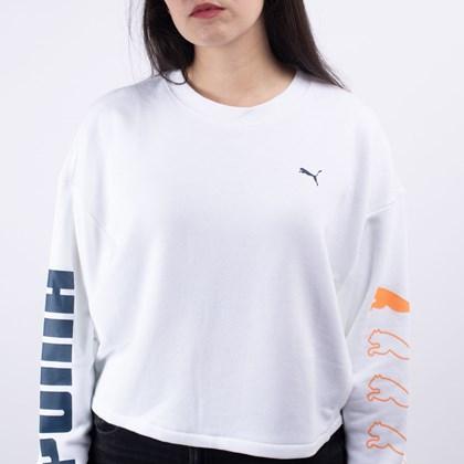 Moletom Puma Feminino Gola Careca Rebel Crew Sweat TR White 58175502