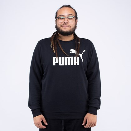Moletom Puma Gola Careca Ess Logo Crew Sweat TR Big Logo Black 85175001