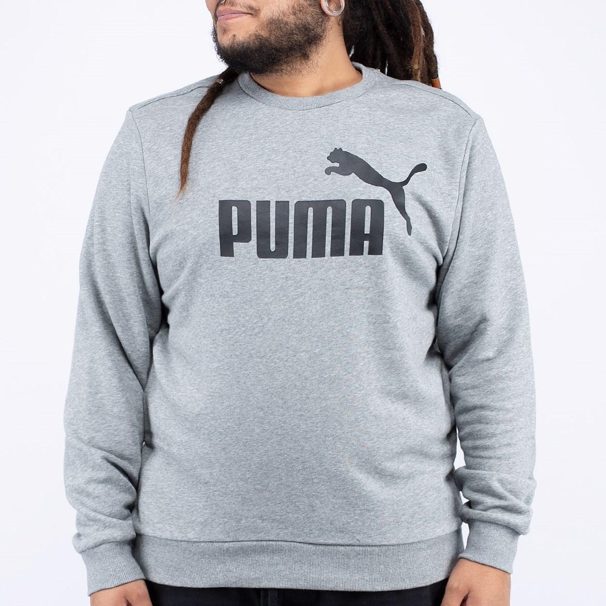 Moletom Puma Gola Careca Ess Logo Crew Sweat TR Big Logo Medium Gray Heather 85175003