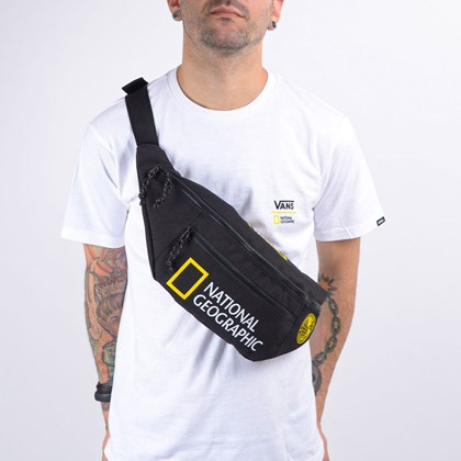 Pochete Vans National Geographic Ward Cross Body Pack Black Yellow VN0A2ZXXY23
