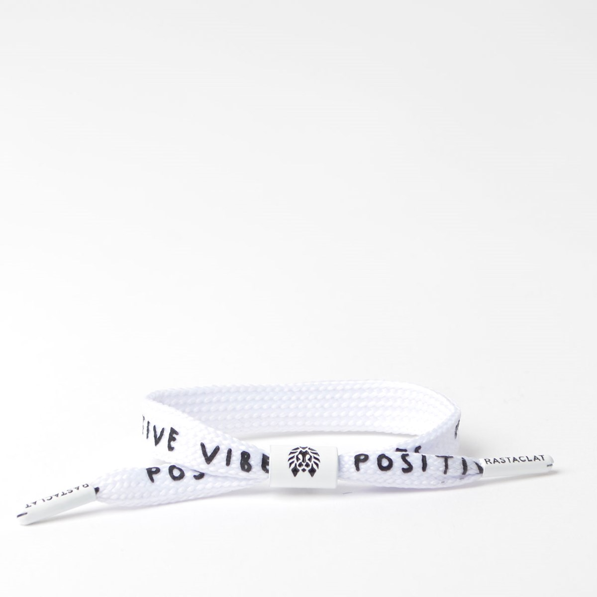 Pulseira Rastaclat Unissex Positive Vibes Wide Lace White Black RC025PVWT