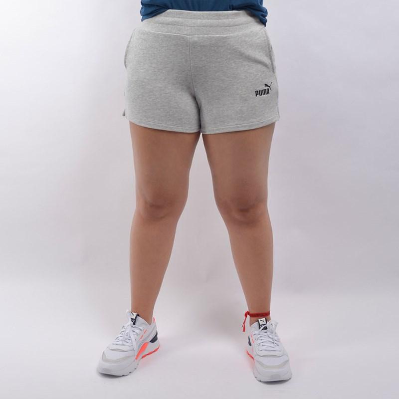 Shorts Puma Feminino Essentials Sweat Cinza Claro 85182104