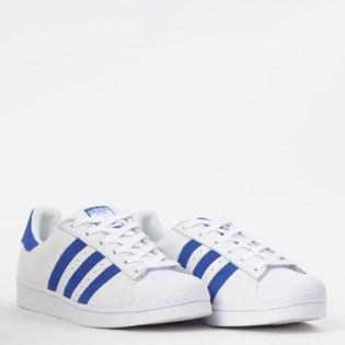 Tênis Adidas Superstar Branco Azul EE8595