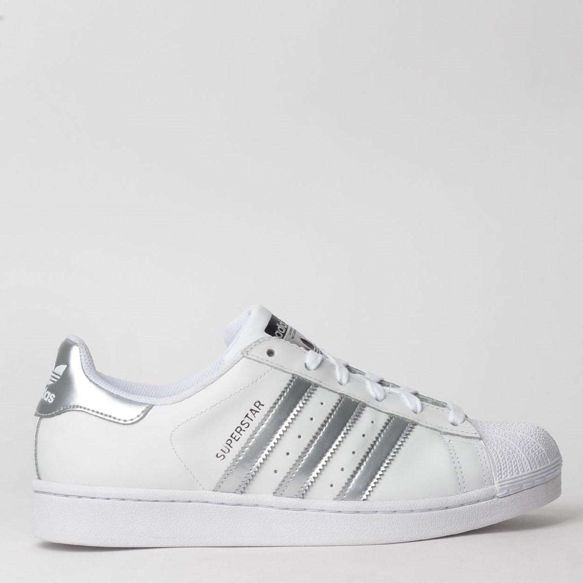 Tênis Adidas Superstar W Branco Prata AQ3091
