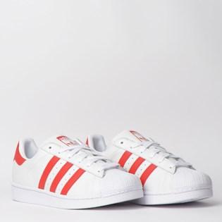 Tênis Adidas Superstar W Branco Vermelho CM8413