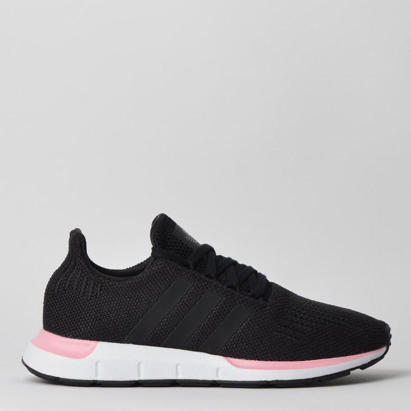 Tênis Adidas Swift Run W Preto Branco Rosa EE4552
