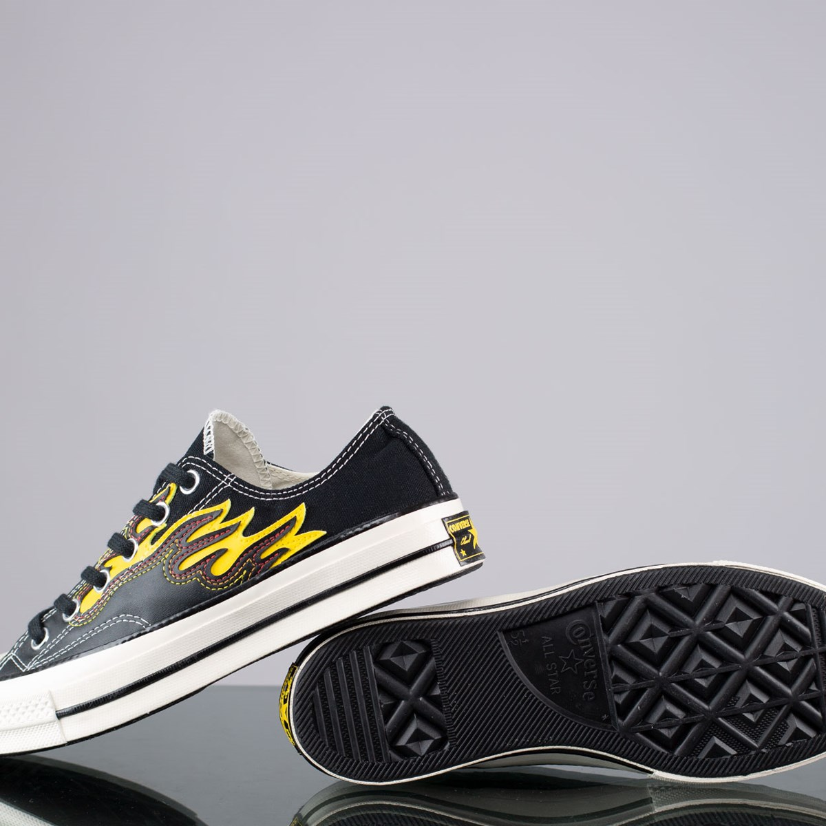 Tênis Converse Chuck 70 Flame Hacked Archive Ox Black Speed Yellow 168701C