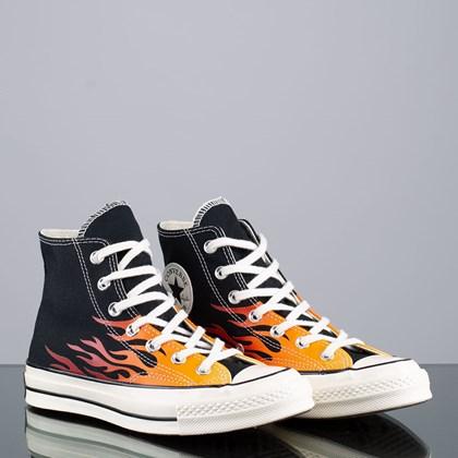 Tênis Converse Chuck 70 Hi Archive Prints Remixed Flames Black Enamel Red 165024C