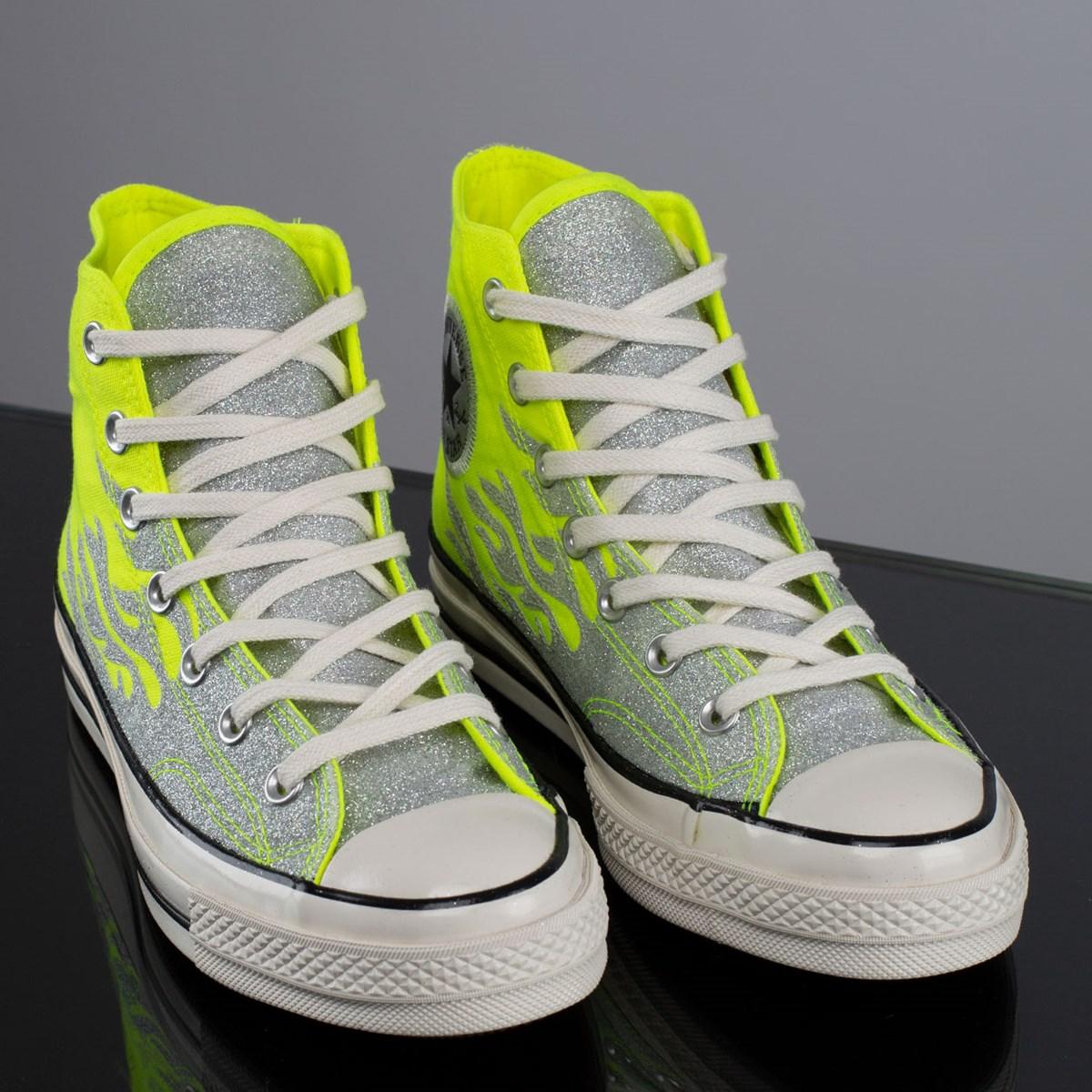 Tênis Converse Chuck 70 Hi Verde Fluor Prata Puro CT15510002