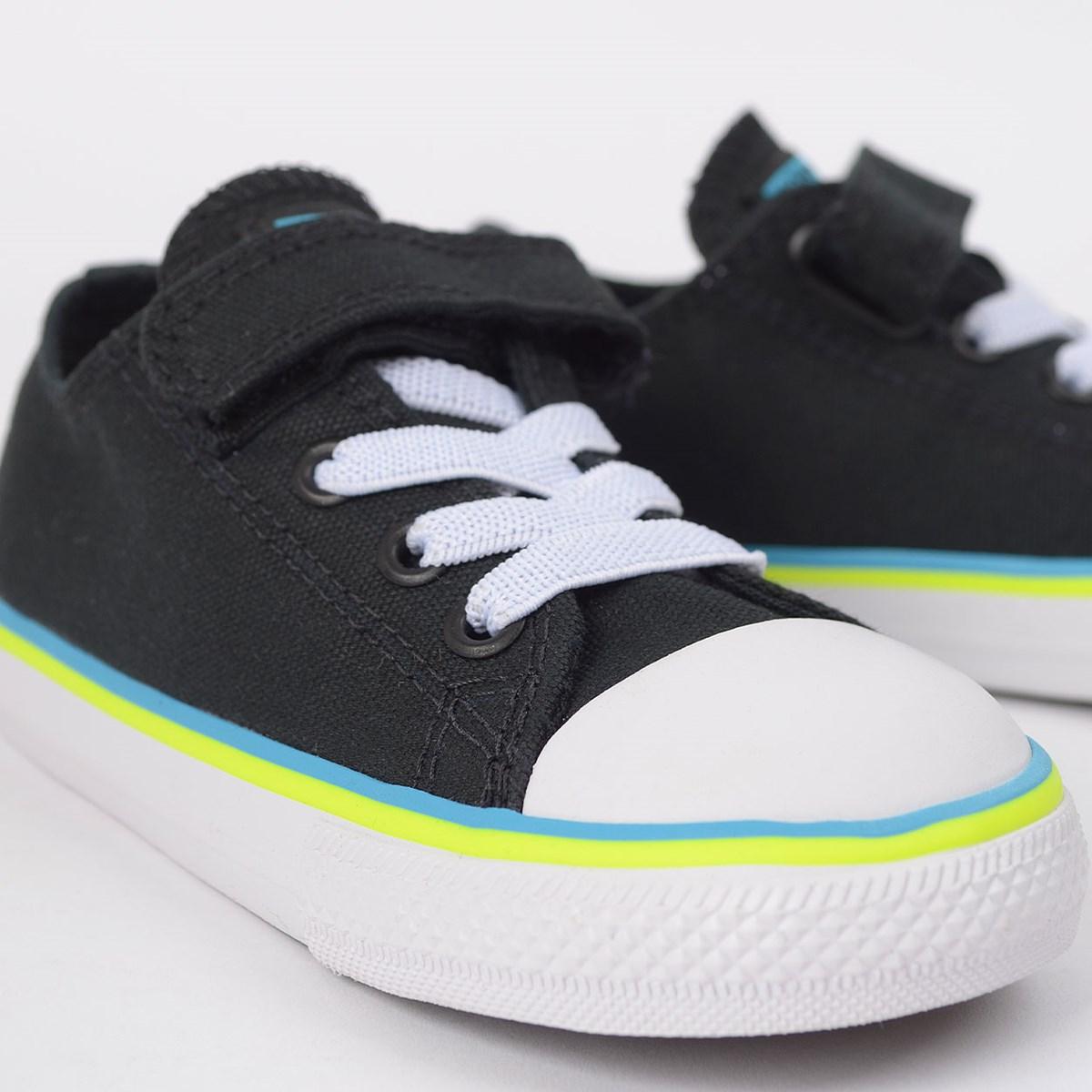 Tênis Converse Chuck Taylor All Star 1V Kids Ox Preto Azul Náutico CK08560001