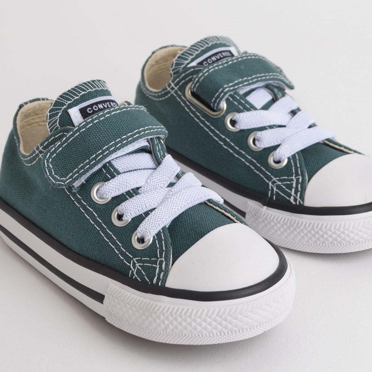 Tênis Converse Chuck Taylor All Star 1V Kids Ox Verde Escuro Preto CK08150003