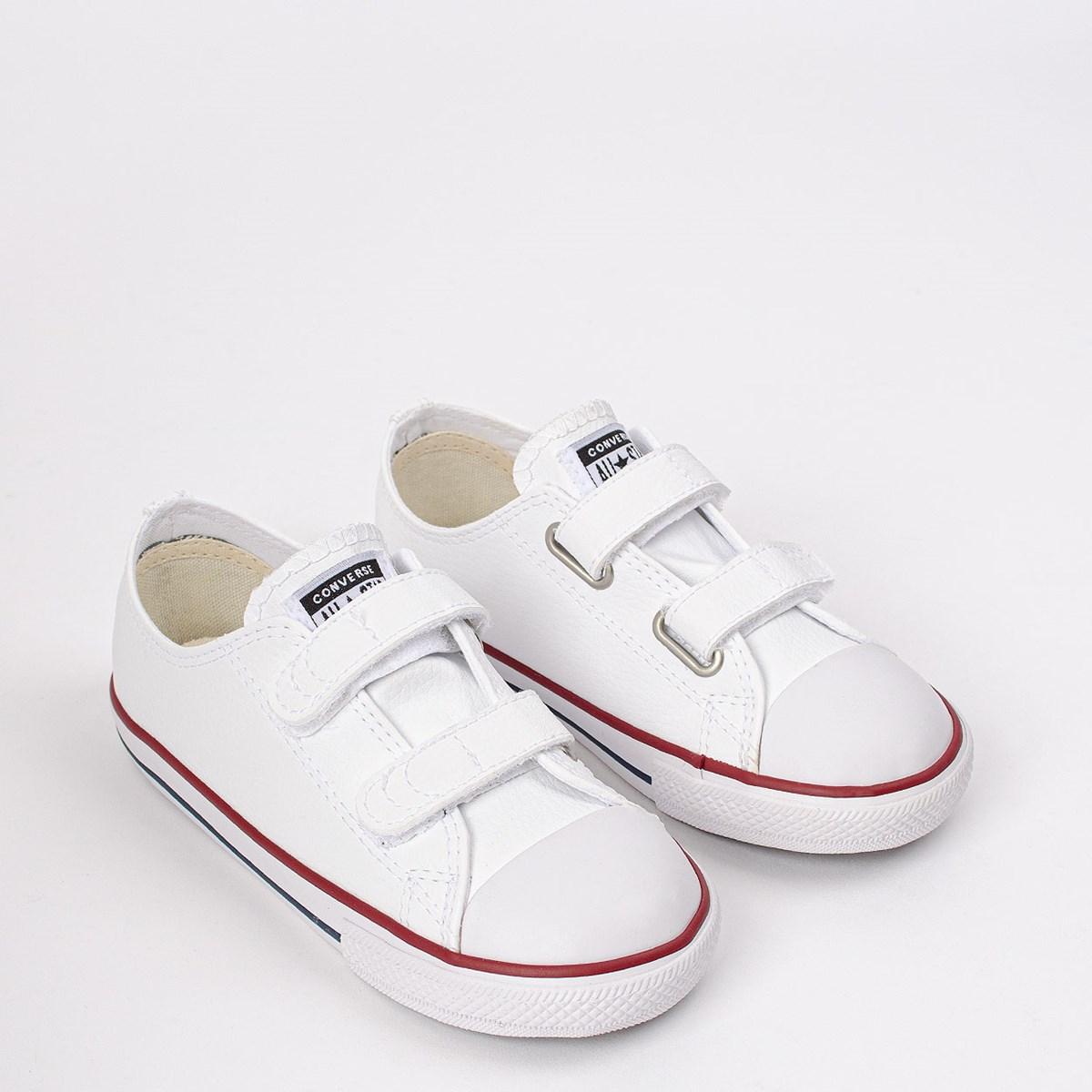 Tênis Converse Chuck Taylor All Star 2V Kids Branco Vermelho CK04180001