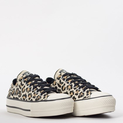 Tênis Converse Chuck Taylor All Star Animal Print Platform Lift Bege Amendoa CT13090001