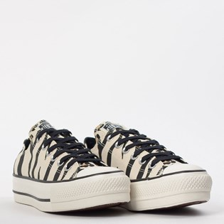 Tênis Converse Chuck Taylor All Star Animal Print Platform Lift Bege Preto CT13620001