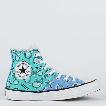 Tênis Converse Chuck Taylor All Star Hi Bandana Patchwork Azul Agua Azul Claro Branco CT18170001