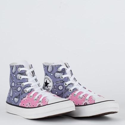 Tênis Converse Chuck Taylor All Star Hi Bandana Patchwork Lilas Rosa Flamingo Branco CT18170002
