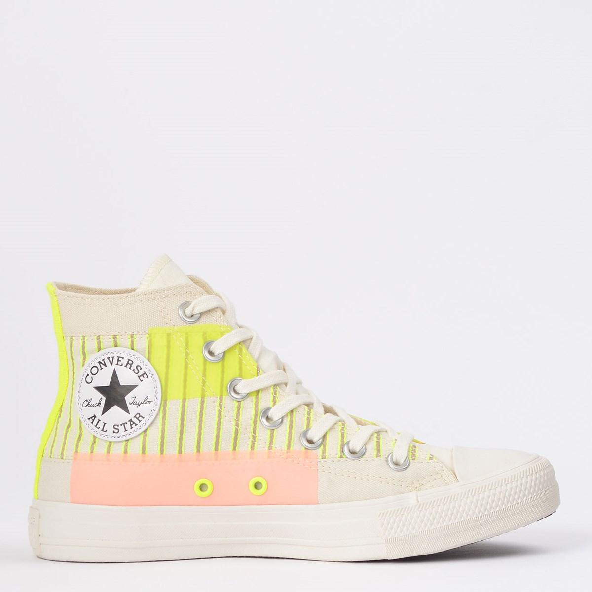 Tênis Converse Chuck Taylor All Star Hi Bege Claro Verde Fluor CT14840001