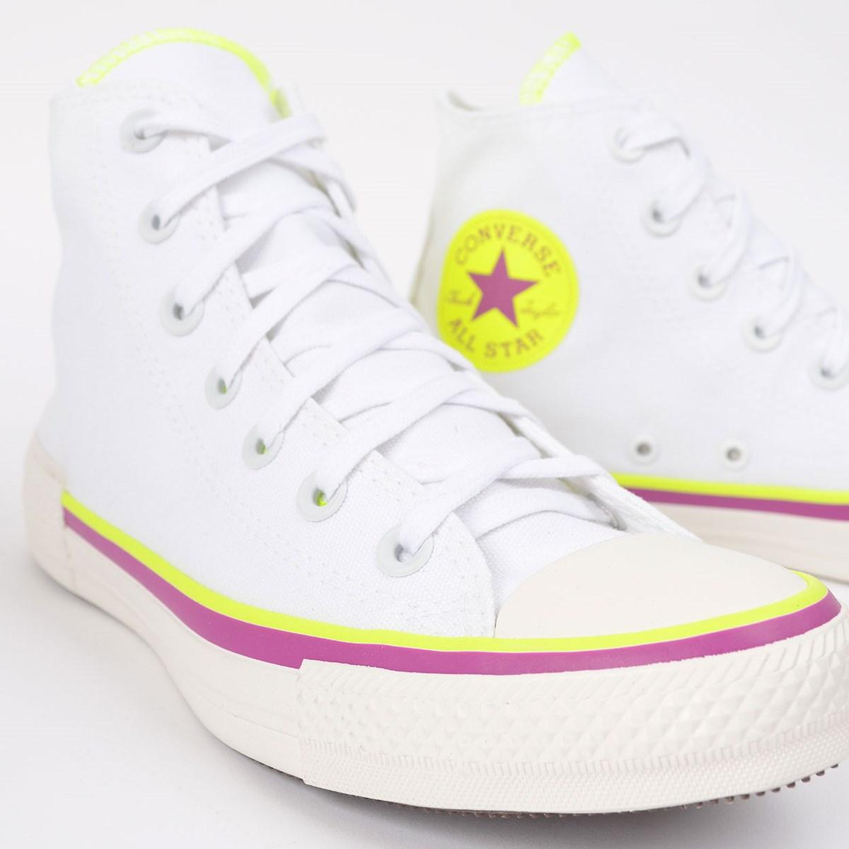 Tênis Converse Chuck Taylor All Star Hi Branco Verde Fluor CT14700002