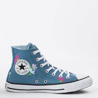 Tênis Converse Chuck Taylor All Star Hi Floral Print Azul Escuro Azul Cambraia CT16660002