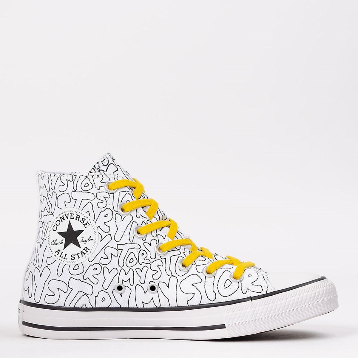 Tênis Converse Chuck Taylor All Star Hi My Story Branco Amarelo CT16270001