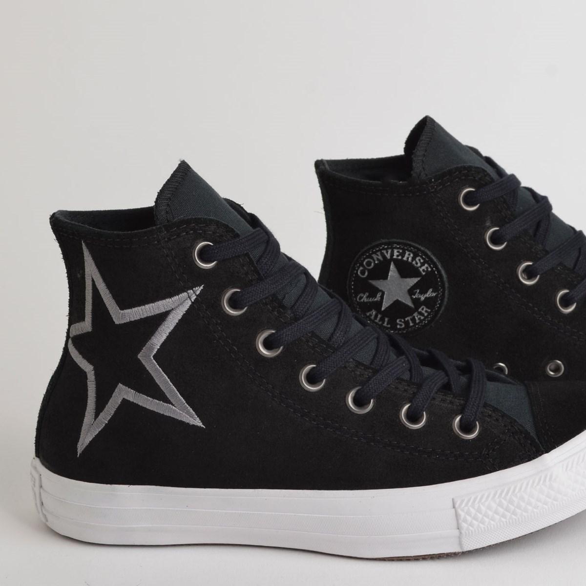 Tênis Converse Chuck Taylor All Star Hi Preto Cinza Metalizado CT13290001
