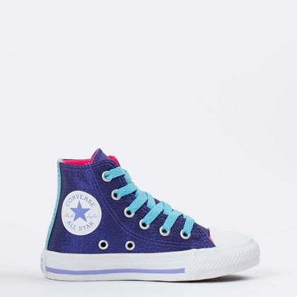 Tênis Converse Chuck Taylor All Star Kids Azul Rosa CK09030001