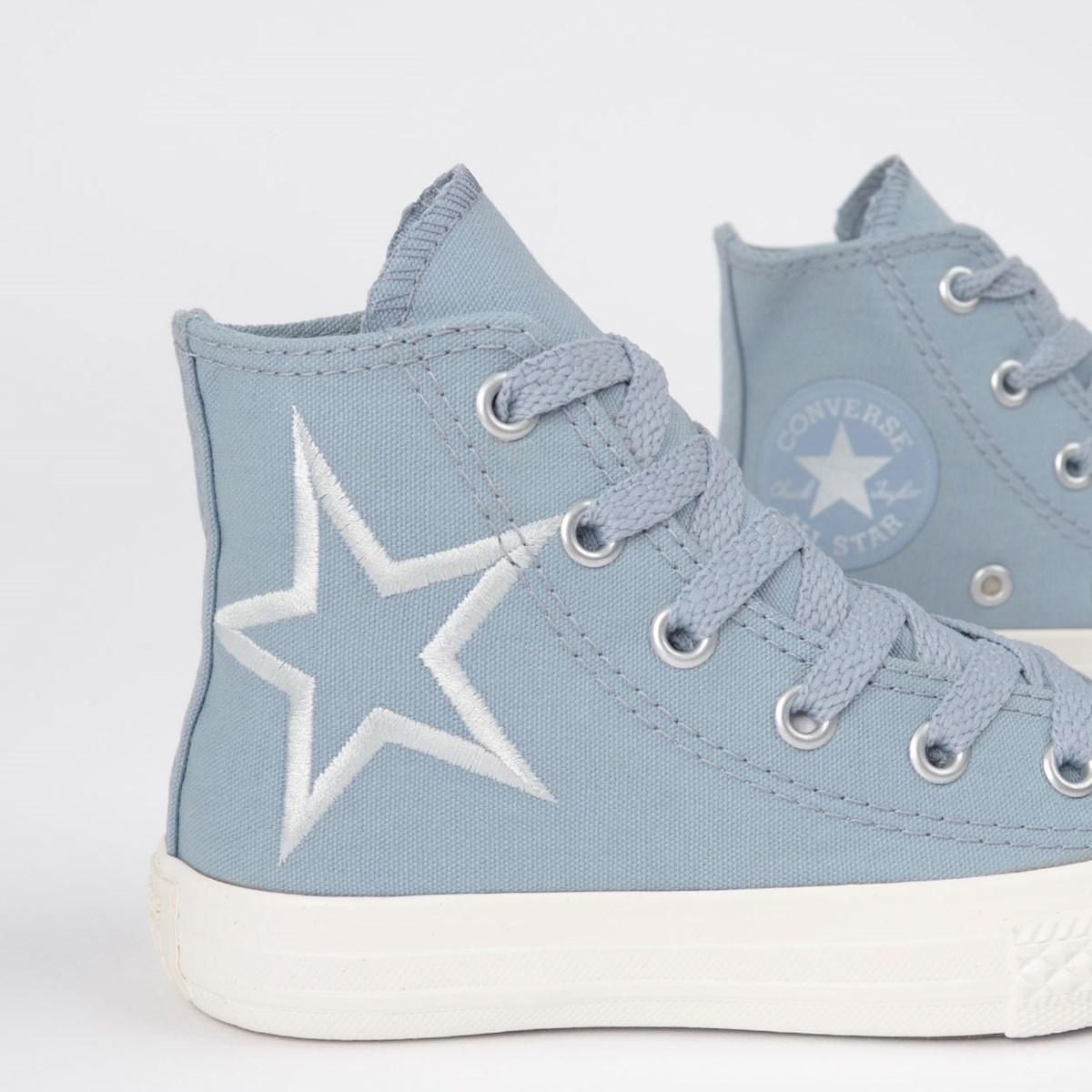 Tênis Converse Chuck Taylor All Star Kids Hi Azul Indigo Prata Puro CK08160002