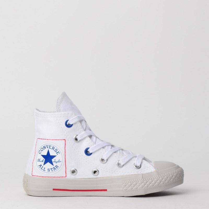 Tênis Converse Chuck Taylor All Star Kids Hi Branco Azul CK07730001
