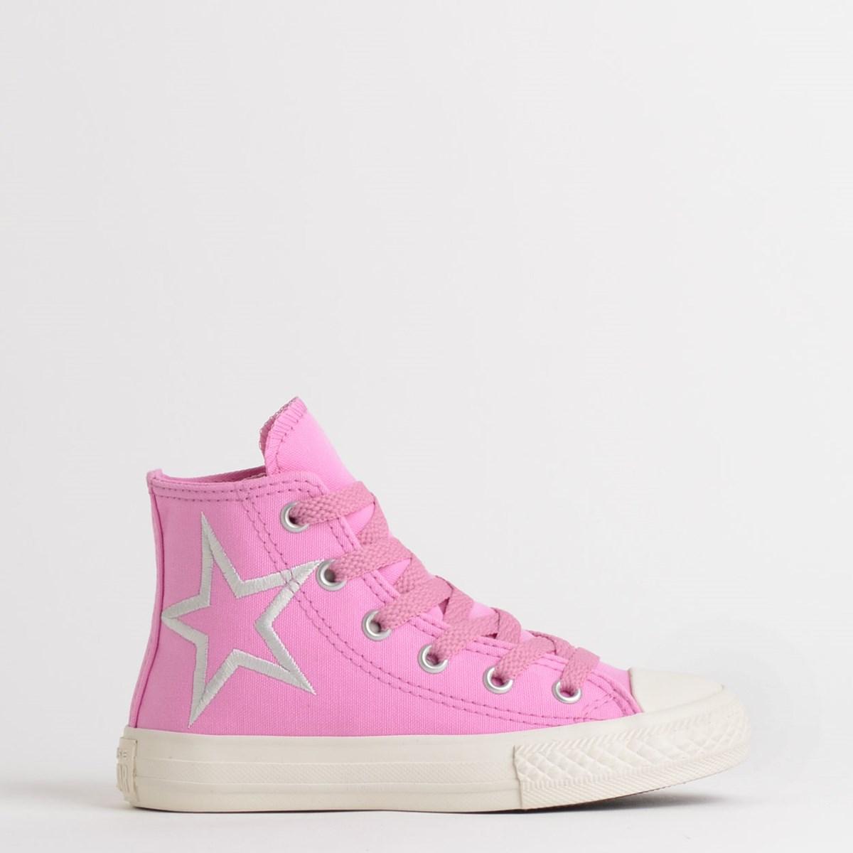 Tênis Converse Chuck Taylor All Star Kids Hi Rosa Claro Prata Puro CK08160001