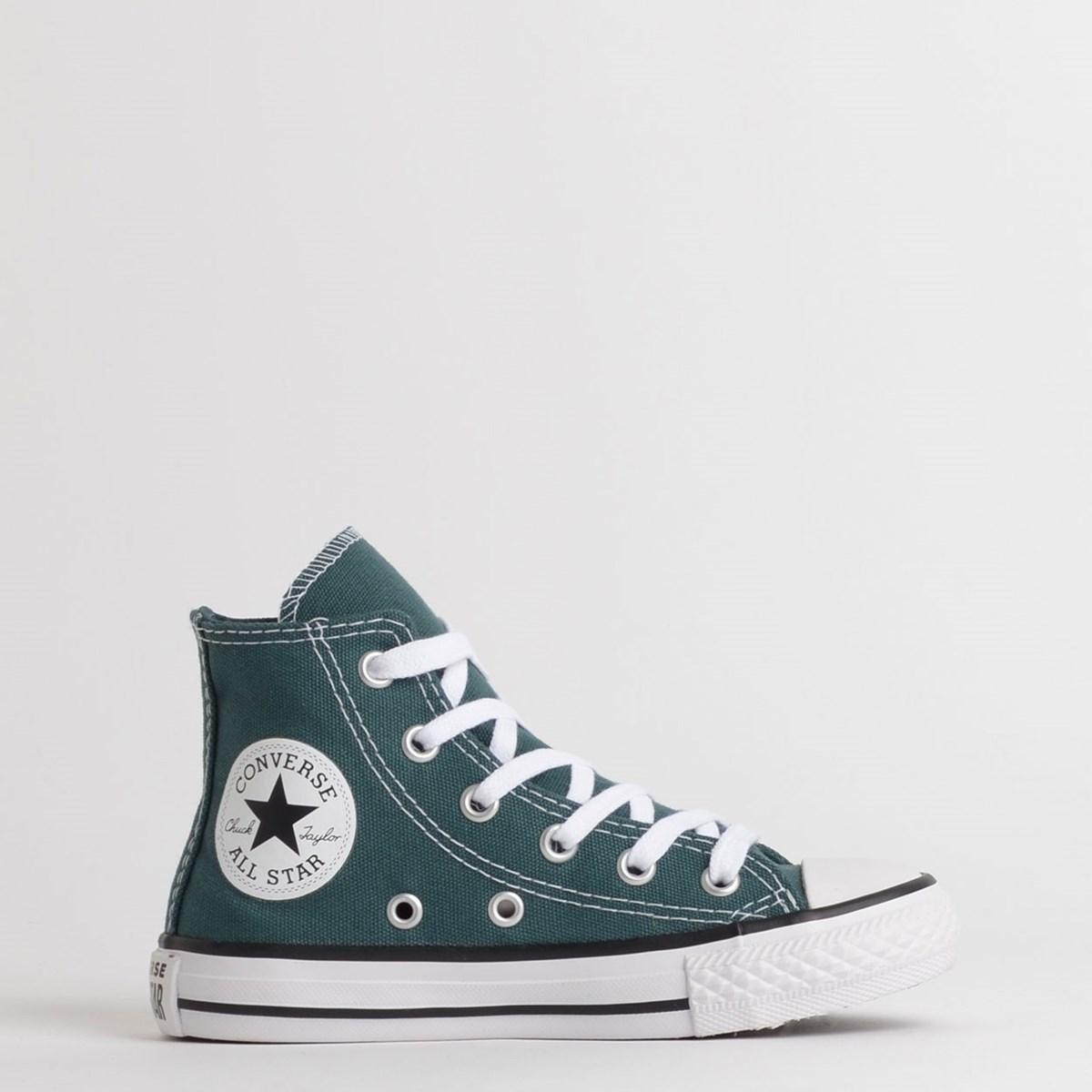 Tênis Converse Chuck Taylor All Star Kids Hi Verde Escuro Preto CK08310001